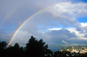 paisaje con un arcoiris